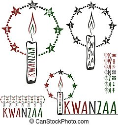Symbols of Kwanzaa with silhouette of couple of Africans....