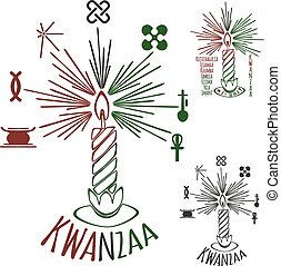 Symbols of Kwanzaa with silhouette of couple of Africans...