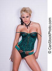 Blonde - Beautiful blonde in a green corset set