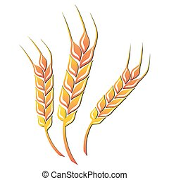 Wheat icon. Vector illustration - Wheat colored icon on...