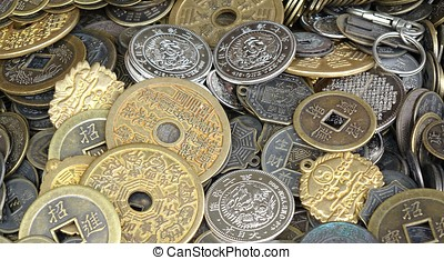 Old Chinese Coins and Money - A street vendor sells...