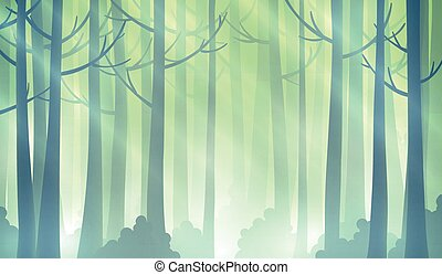 Magic forest illustration - Foggy fairy green forest...