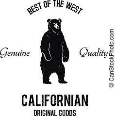 Californian goods logo - Vintage standing bear black and...
