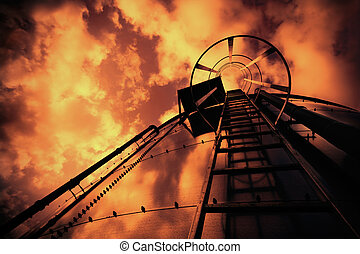 refinería, escalera, debajo, mal, cielo