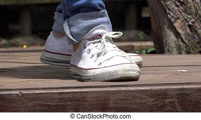Teen Female Feet Sneakers Dancing - Sneakers of Teen Female...