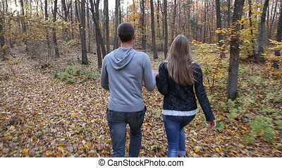 couple walking in nature - couple walking in the autumn...