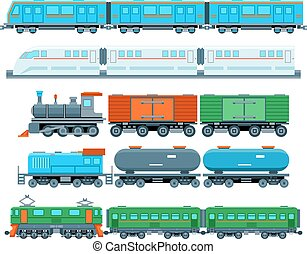 Railway trains in flat style - Set of railway trains in flat...
