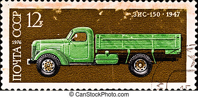 postage stamp shows vintage car - USSR - CIRCA 1976: postage...