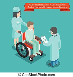 Patient on wheelchair with doctor staff. 3D isometric vector illustration