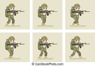 Soldier flat design run animation frames Military army, man...
