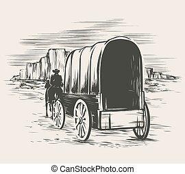 viejo, vagón, en, salvaje, oeste, Praderas,