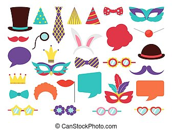 Party Birthday photo booth props. Vector collection - Party...