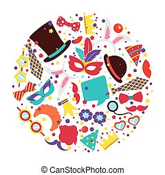 Birthday party photo booth props vector set in circle shape