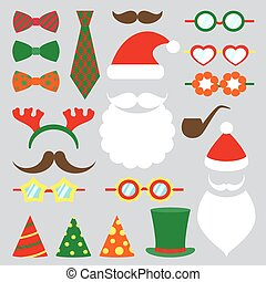 Christmas photo booth vector set - Christmas photo booth...