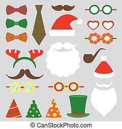 Christmas photo booth vector set - Christmas photo booth...