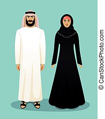 Traditional arab clothing. Man and woman - Traditional arab...