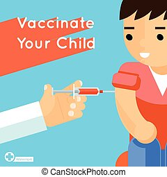 Child vaccination vector concept poster - Child vaccination...
