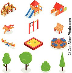 Kids isometric 3D playground Vector icon set - Kids...