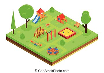 Childrens playground in isometric flat style. Vector...