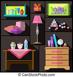 Bedroom for girls. A set of furniture and objects for the room.