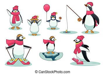 Penguins in different situations Vector illustration cartoon...