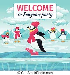 Cartoon penguins skating illustration - Cartoon penguins...