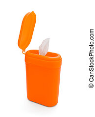 Canister of wipes - Open orange plastic canister of...