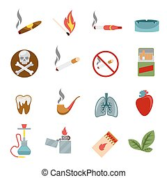 Smoking icons in flat style. Cigarette and tobacco, cigar...