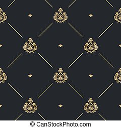 Royal wedding pattern seamless background, line and golden...