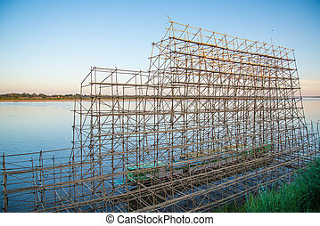 Bamboo scaffolding on a boat for Buddhist rituals. steamer...