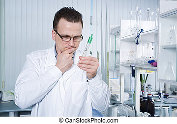 Scientist observing test tube at the laboratory - Lab worker...