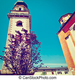 Belfry of the Catholic Church in the Medieval Italian City,...