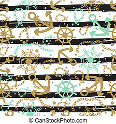 Seamless abstract marine pattern. Sea anchors, rope and...