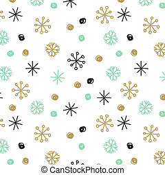 Vector background with hand drawn snowflakes and spots in...