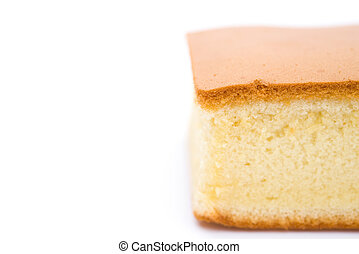 sponge cake on white with copy space