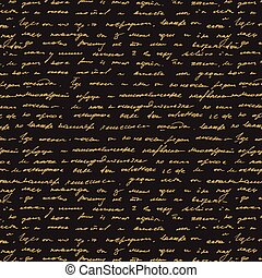 Seamless abstract text pattern Gold text on black background...