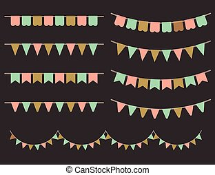Colorful Garlands on black backgrou
