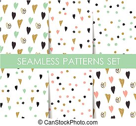 Set seamless pattern with hearts. Valentines Day background....