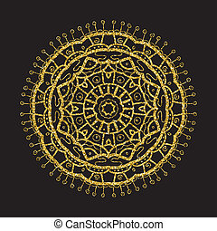Vintage gold glitter mandala, vector circle frame on black