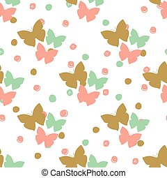Seamless pattern with butterflies and dots. Can be used for...