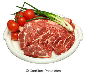 white plate containing raw beef with white strains of fat,...