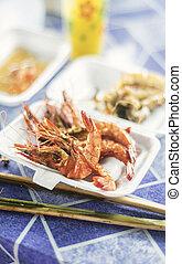Asiático, rei, carabineiros, em, kep, cambodia, restaurante,...
