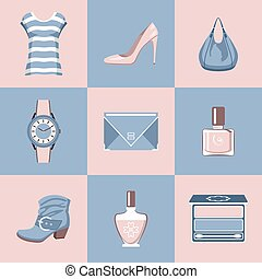 Fashion set in a style flat design vector - Fashion set in a...