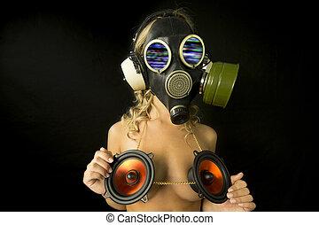 strange gas mask disco gogo dancer with audio speakers...