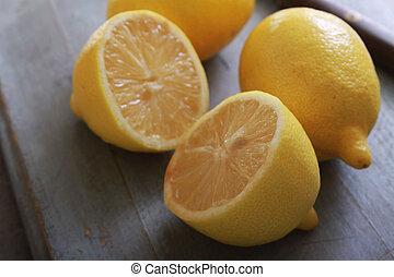 fresco, Cortar, limones,