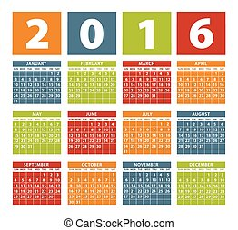 Calendar 2016 on White Background