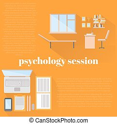 flat psychologist office for counseling, office workplace