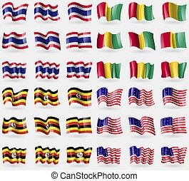Thailand, Guinea, Uganda, Bikini Atoll Set of 36 flags of...