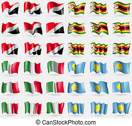 Sealand Principality, Zimbabwe, Italy, Palau Set of 36 flags...