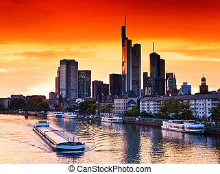 Sunset in Frankfurt am Main, Germany